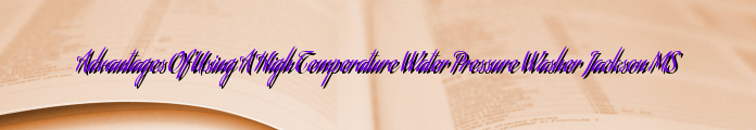 Advantages Of Using A High Temperature Water Pressure Washer Jackson MS