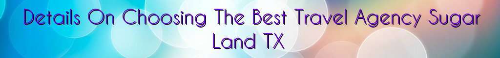 Details On Choosing The Best Travel Agency Sugar Land TX