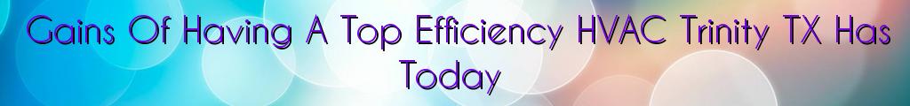 Gains Of Having A Top Efficiency HVAC Trinity TX Has Today