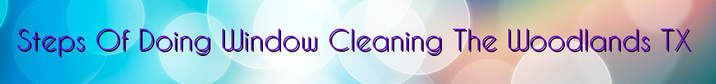 Steps Of Doing Window Cleaning The Woodlands TX