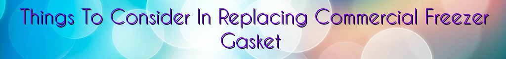 Things To Consider In Replacing Commercial Freezer Gasket