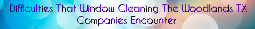 Difficulties That Window Cleaning The Woodlands TX Companies Encounter