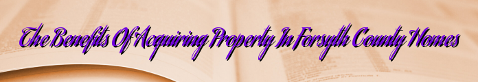 The Benefits Of Acquiring Property In Forsyth County Homes