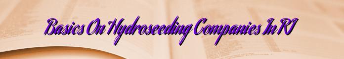 Basics On Hydroseeding Companies In RI