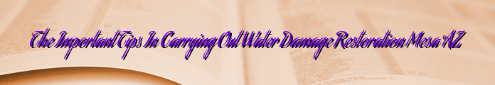 The Important Tips In Carrying Out Water Damage Restoration Mesa AZ